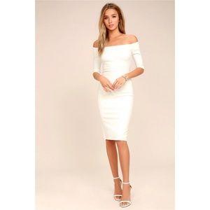 NWT - Lulu's Ivory Off-the-Shoulder Midi Dress